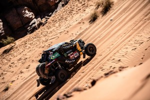 Reinaldo Varela e Gustavo Gugelmin a bordo do Can-Am Maverick X3 no Rally Dakar 2020, na Arábia Saudita. Credito: MCH Photography